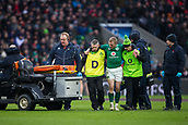 17th March 2018, Twickenham, London, England; NatWest Six Nations rugby, England versus Ireland; Keith Earls of Ireland is helped from the pitch