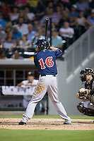 Deven Marrero (16) of the Pawtucket Red Sox at bat against the Charlotte Knights at BB&T BallPark on July 6, 2016 in Charlotte, North Carolina.  The Knights defeated the Red Sox 8-6.  (Brian Westerholt/Four Seam Images)