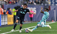Foxborough, Massachusetts - April 20, 2019: In a Major League Soccer (MLS) match, New England Revolution (light blue) defeated New York Red Bulls (dark blue), 1-0, at Gillette Stadium.