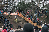 Daan Soete (BEL/Telenet Fidea Lions) and Lars van der Haar (NED/Telenet Fidea Lions) in pursuit of the race leaders<br /> <br /> Elite Men's Race<br /> UCI CX World Cup Zolder / Belgium 2017