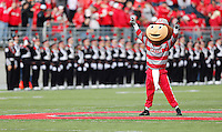 Brutus gets the crowd going before the start of the Buckeyes game against iowa at Ohio Stadium on October 19, 2013.  (Chris Russell/Dispatch Photo)