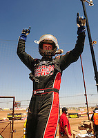 Apr 17, 2011; Surprise, AZ USA; LOORRS driver John Fitzgerald celebrates after winning round 4 at Speedworld Off Road Park. Mandatory Credit: Mark J. Rebilas-