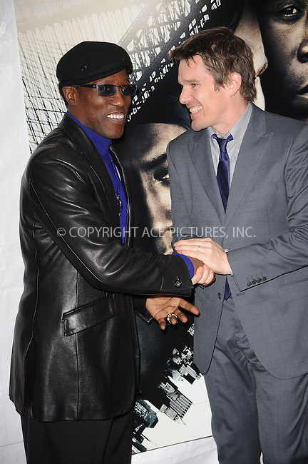 WWW.ACEPIXS.COM . . . . . ....March 2 2010, New York City....Wesley Snipes and Ethan Hawke arriving at the premiere of Overture Films' 'Brooklyn's Finest' at Empire Hotel Rooftop on March 2, 2010 in New York City.....Please byline: KRISTIN CALLAHAN - ACEPIXS.COM.. . . . . . ..Ace Pictures, Inc:  ..tel: (212) 243 8787 or (646) 769 0430..e-mail: info@acepixs.com..web: http://www.acepixs.com
