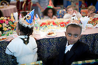 ADDIS ABABA, ETHIOPIA - NOVEMBER 14: Children enjoy a birthday party in private room at the HILTON hotel on November 14, 2010 in Addis Ababa, Ethiopia. Some people can afford to buy expensive locally  and imported cloths and goods despite that this one of Africa's poorest countries. (Photo by Per-Anders Pettersson)