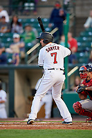 Rochester Red Wings catcher Wynston Sawyer (7) at bat during a game against the Pawtucket Red Sox on May 19, 2018 at Frontier Field in Rochester, New York.  Rochester defeated Pawtucket 2-1.  (Mike Janes/Four Seam Images)