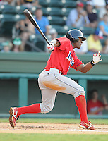 July 29, 2009: Infielder Harold Garcia (34) of the Lakewood BlueClaws, Class A affiliate of the Philadelphia Phillies, in a game at Fluor Field at the West End in Greenville, S.C. Photo by: Tom Priddy/Four Seam Images