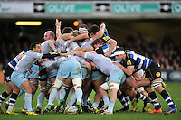 The front rows pop up as a scrum disintegrates. Aviva Premiership match, between Bath Rugby and Northampton Saints on December 5, 2015 at the Recreation Ground in Bath, England. Photo by: Patrick Khachfe / Onside Images