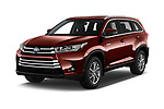 2019 Toyota Highlander XLE 5 Door SUV Angular Front stock photos of front three quarter view