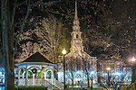 Holiday lights at Central Square in Keene, New Hampshire, USA