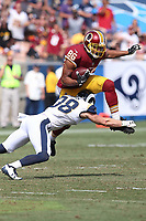 Washington Redskins tight end Jordan Reed #86 and Los Angeles Rams free safety Cody Davis #38 during an NFL football game between the Washington Redskins and the Los Angeles Rams, Sunday, Sept. 17, 2017 in Los Angeles (Photo by Michael Zito/Panini)