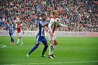 VOETBAL: AMSTERDAM: 16-04-2017, AJAX - SC Heerenveen, uitslag 5 - 1, Kasper Dolberg in duel Jeremiah St. Juste, ©foto Martin de Jong
