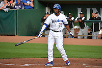 Theo Alexander (25) of the Ogden Raptors at bat against the Grand Junction Rockies during Opening Night of the Pioneer League Season on June 16, 2014 at Lindquist Field in Ogden, Utah. (Stephen Smith/Four Seam Images)