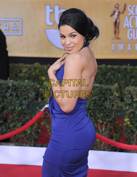 Jordin Sparks.Arrivals at the 19th Annual Screen Actors Guild Awards at the Shrine Auditorium in Los Angeles, California, USA..27th January 2013.SAG SAGs half length blue purple dress backless hand arm side  halterneck looking over shoulder .CAP/DVS.©DVS/Capital Pictures.
