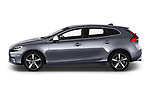 Car driver side profile view of a 2018 Volvo V40 R-Design 5 Door Hatchback