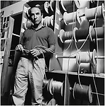 Black and white portrait of Patagonia founder Yvon Chouinard at factory in Santa Barbara, CA circa 1980s