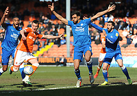 Blackpool's Chris Long shoots as the Peterborough United defenders appeal for handball<br /> <br /> Photographer Kevin Barnes/CameraSport<br /> <br /> The EFL Sky Bet League One - Blackpool v Peterborough United - Saturday 13th April 2019 - Bloomfield Road - Blackpool<br /> <br /> World Copyright &copy; 2019 CameraSport. All rights reserved. 43 Linden Ave. Countesthorpe. Leicester. England. LE8 5PG - Tel: +44 (0) 116 277 4147 - admin@camerasport.com - www.camerasport.com