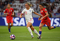 20190702 - LYON , FRANCE : American Kelley O Hara pictured chasing English Beth Mead (22) during the female soccer game between England  - the Lionesses - and The United States of America  – USA - , a knock out game in the semi finals of the FIFA Women's  World Championship in France 2019, Tuesday 2 nd July 2019 at the Stade de Lyon  Stadium in Lyon  , France .  PHOTO SPORTPIX.BE | DAVID CATRY
