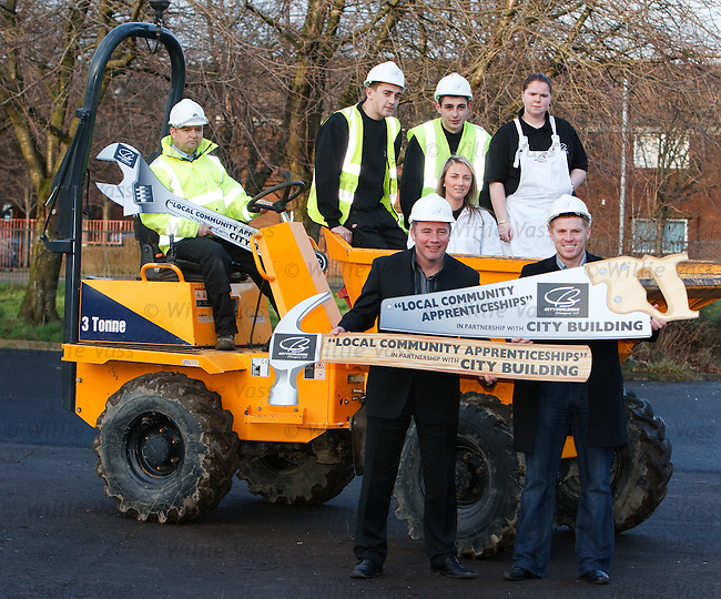 Ally McCoist and Neil Lennon at the skills centre for City Building, Glasgow for a new intake of apprentice workers