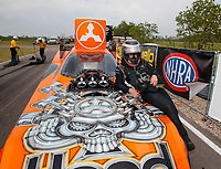 Apr 13, 2019; Baytown, TX, USA; NHRA funny car driver Jonnie Lindberg during qualifying for the Springnationals at Houston Raceway Park. Mandatory Credit: Mark J. Rebilas-USA TODAY Sports