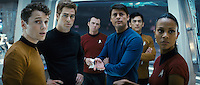 ANTON YELCHIN, CHRIS PINE, SIMON PEGG, KARL URBAN, JOHN CHO & ZOE SALDANA .in Star Trek.*Filmstill - Editorial Use Only* Filmcap/MediaPunch