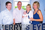 Baby Clodagh Hoare, Tullig More, Killorglin pictured with her parents Tim and Deirdre and godparents Padraig Savage and Michelle Hoare at her christening celebrations in The Fishery, Killorglin on Saturday.