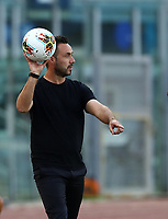 Football, Serie A: S.S. Lazio - Sassuolo, Olympic stadium, Rome, July 11, 2020. <br /> Sassuolo's coach Roberto De Zerbi gestures during the Italian Serie A football match between S.S. Lazio and Sassuolo at Rome's Olympic stadium, Rome, on July 11, 2020. <br /> UPDATE IMAGES PRESS/Isabella Bonotto