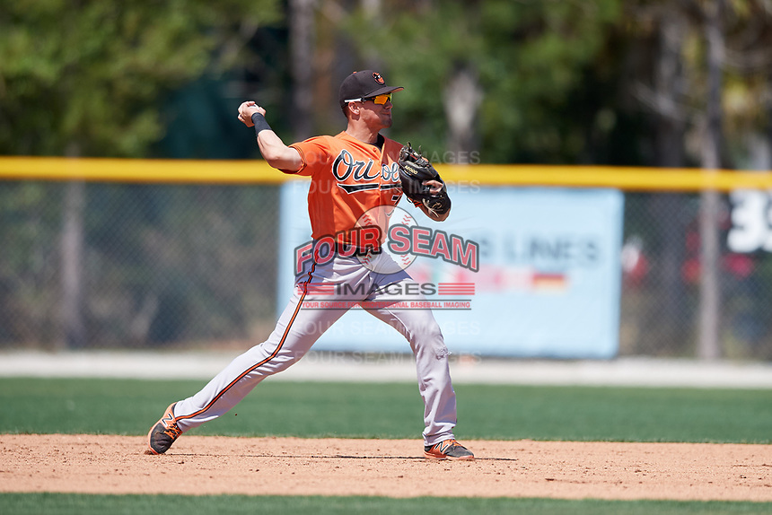 Baltimore Orioles Alejandro Juvier (75) throws to first base during a minor league Spring Training game against the Tampa Bay Rays on March 29, 2017 at the Buck O'Neil Baseball Complex in Sarasota, Florida.  (Mike Janes/Four Seam Images)