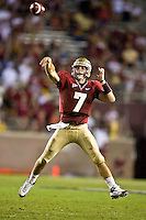 October 10, 2009:    Florida State quarterback Christian Ponder (7) throws a jump pass during Atlantic Coast Conference action between the Georgia Tech Yellow Jackets and Florida State Seminoles at Doak Campbell Stadium in Tallahassee, Florida.  Georgia Tech defeated Florida State 49-44.