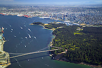 Vancouver, BC, Canada, August 2006. Stanley Park and the Lions Gate Bridge with Downtown Vancouver in the background. Squeezed in between the Rocky Mountains and the Pacific Ocean, Vancouver has a special feel. Photo by Frits Meyst/Adventure4ever.com