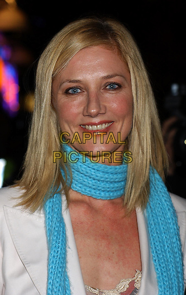 JOELY RICHARDSON.Shoreditch Premiere, Warner Village Cinema, Leicester Square, London.Ref: Ten.headshot, portrait, turquoise scarf, knitted, crochet.www.capitalpictures.com.sales@capitalpictures.com.©Capital Pictures