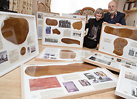 BNPS.co.uk (01202 558833)<br /> Pic: CorinMesser/BNPS<br /> <br /> Robin and Suzannah Holwell with sections of the ceiling which they have preserved. <br /> <br /> Sections of a torn-down pub ceiling which are covered in 250 signatures from World War Two heroes have been salvaged and turned into a memorial.<br /> <br /> The merry airmen left their mark during raucous evenings at the George and Dragon in the village of Clyst St George in Devon.<br /> <br /> Many of the brave men who signed or drew on the wood ceiling perished in the war in the skies with the Luftwaffe.<br /> <br /> One of them, Sergeant Albert Stilin, of 257 Squadron, was killed aged 21 when he crashed his Hurricane into this pub's roof on September 30, 1942. Another airman later put the initials 'RIP' put after his name.<br /> <br /> The ceiling was taken down in 1975 and half of it was destroyed. <br /> <br /> Robin and Suzannah Holwell recovered the surviving planks from a RAFA association store room in 2009 and have carried out a decade-long preservation project, putting the sections in frames and researching the men behind signatures.
