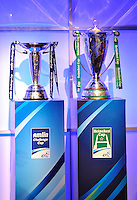 London, England. Heineken Cup and Amlin Challenge Cup the UK Heineken Cup and Amlin Challenge Cup on display at the season launch at SKY Studios on October 1, 2012 in London, England.