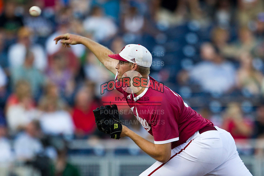 Indiana Hoosiers pitcher Aaron Slegers (31) delivers a pitch to the plate against the Oregon State Beavers during Game 9 of the 2013 Men's College World Series  on June 19, 2013 at TD Ameritrade Park in Omaha, Nebraska. The Beavers defeated the Hoosiers 1-0, eliminating Indiana from the tournament. (Andrew Woolley/Four Seam Images)