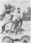 &quot;Angus Evans, Jr. and Friends&quot; posing on a hand car.<br /> D&amp;RG    1916