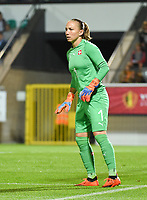 20181005 - LEUVEN , BELGIUM : Switzerland's Gaelle Thalmann   pictured during the female soccer game between the Belgian Red Flames and Switzerland , the first leg in the semi finals play offs for qualification for the World Championship in France 2019, Friday 5 th october 2018 at OHL Stadion Den Dreef in Leuven , Belgium. PHOTO SPORTPIX.BE | DIRK VUYLSTEKE