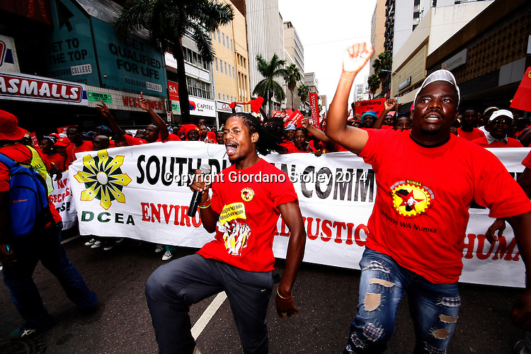 DURBAN - 19 March 2014 - Several thousand members of the  National Union of Metal Workers of South Africa marched through central Durban to protests for more jobs, especially the youth. They later converged on the Durban City Hall gardens where Zwelinzima Vavi, the suspended Congress of SA Trade Unions general secretary addressed them. Picture: Allied Picture Press/APP