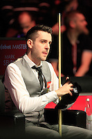 Mark Selby takes to his seat during the Dafabet Masters Quarter Final 3 match between Ronnie O'Sullivan and Mark Selby at Alexandra Palace, London, England on 14 January 2016. Photo by Liam Smith / PRiME Media Images