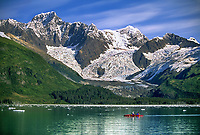 Sea kayakers, Mount Gilbert, Serpentine Glacier, Chugach Mountains, Harriman Fjord, Prince William Sound, Alaska.