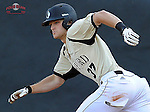Left fielder James Plaisted (37) of the Wofford College Terriers runs out a double in the second inning of a game against the Clemson Tigers on Tuesday, May 5, 2015, at Russell C. King Field in Spartanburg, South Carolina. Wofford won, 17-9. (Tom Priddy/Four Seam Images)
