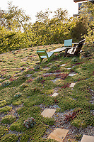 Green roof with seating, Coyote House, SITES® residential home with sustainable garden Santa Barbara California, Susan Van Atta landscape architect, Ken Radtkey architect,