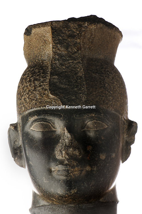 Head of Taharka wearing Kushite cap crown,  Black Pharaohs, Nubians, Egypt, Aswan, Nubian Museum, 25th Dynasty, Late Period