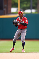 Lehigh Valley IronPigs second baseman Darnell Sweeney (24) during a game against the Columbus Clippers on May 12, 2016 at Huntington Park in Columbus, Ohio.  Lehigh Valley defeated Columbus 2-1.  (Mike Janes/Four Seam Images)