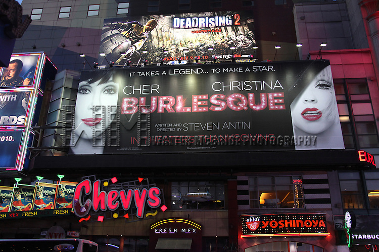 Times Square Billboard for Steven Antin's star studded debut feature 'Burlesque' starring CHER & CHRISTINA AGUILERA, New York City. October 22, 2010.© Walter McBride / Retna Ltd..