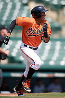 Baltimore Orioles Davis Tavarez (81) runs to first base during an Instructional League game against the Pittsburgh Pirates on September 27, 2017 at Ed Smith Stadium in Sarasota, Florida.  (Mike Janes/Four Seam Images)