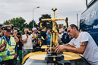 Picture by Russell Ellis/russellis.co.uk/SWpix.com - image archived on 25/04/2019 Cycling Tour de France 2018 - Team Sky at the Tour de France - STAGE 21: HOUILLES - PARIS Champs-Elysées 29/07/2018<br /> - Team Sky yellow Ford GT Cycling Fans Team Sky Yellow Pinarello F10