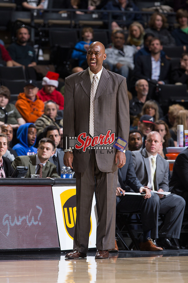 Wake Forest Demon Deacons head coach Danny Manning yells at his team during first half action against the Coastal Carolina Chanticleers at the LJVM Coliseum on December 18, 2015 in Winston-Salem, North Carolina.  The Demon Deacons defeated the Chanticleers 83-77.  (Brian Westerholt/Sports On Film)