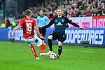 04.11.2018, Opel-Arena, Mainz, GER, 1 FBL, 1. FSV Mainz 05 vs SV Werder Bremen, <br /> <br /> DFL REGULATIONS PROHIBIT ANY USE OF PHOTOGRAPHS AS IMAGE SEQUENCES AND/OR QUASI-VIDEO.<br /> <br /> im Bild: Daniel Brosinski (#18, FSV Mainz) gegen Florian Kainz (SV Werder Bremen #7)<br /> <br /> Foto © nordphoto / Fabisch