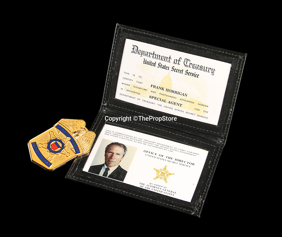 BNPS.co.uk (01202 558833)<br /> Pic: ThePropStore/BNPS<br /> <br /> Clint Eastwood's Frank Horrigan photo ID and shield from In The Line Of Fire.<br /> <br /> Stop! Police! - Hollywoods finest...and funniest id badges come up for auction.<br /> <br /> The world's largest ever collection of IDs belonging to a who's who of film and TV stars is set to be auctioned. <br /> <br /> Credentials used by Hollywood royalty including Jodie Foster, Bruce Willis, Leonardo DiCaprio, Jeremy Irons, Eddie Murphy and Kiefer Sutherland are all about to go under the hammer. <br /> <br /> The lots are being sold on behalf of an anonymous collector who amassed the collection over a period of 15 years. <br /> <br /> They will be auctioned by the Prop Store in London on Tuesday, September 27.