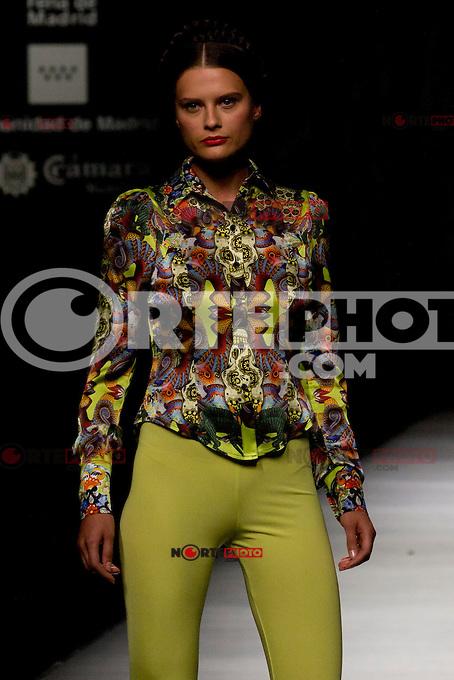 02.09.2012. Models walk the runway in the Maya Hansen fashion show during the Mercedes-Benz Fashion Week Madrid Spring/Summer 2013 at Ifema. (Alterphotos/Marta Gonzalez) /NortePhoto.com<br /> <br /> **CREDITO*OBLIGATORIO** <br /> *No*Venta*A*Terceros*<br /> *No*Sale*So*third*<br /> *** No*Se*Permite*Hacer*Archivo**<br /> *No*Sale*So*third*
