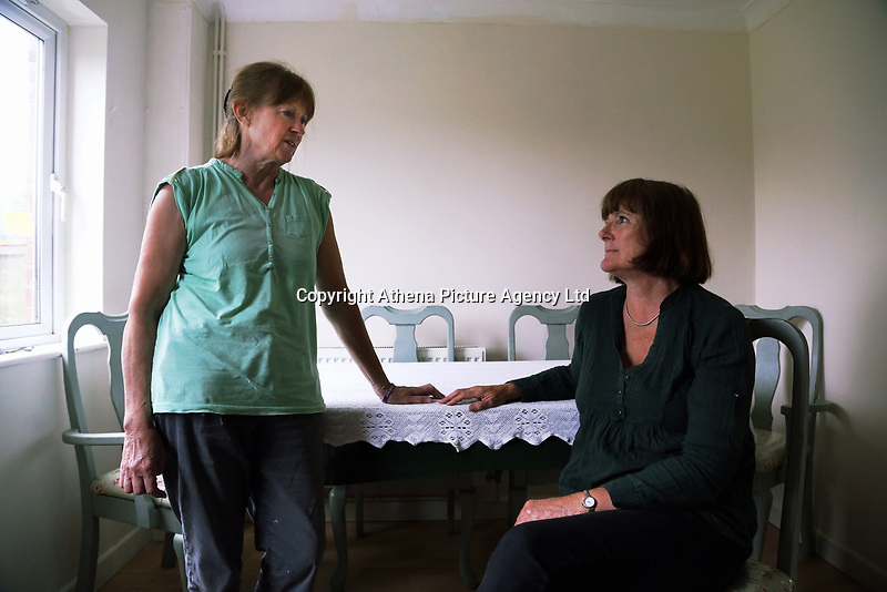 Pictured L-R: Christine Hughes and Jill Simpson. Tuesday 11 July 2017<br /> Re: A family of Syrian refugees will be given accommodation in Narberth, Pembrokeshire, Wales, UK.